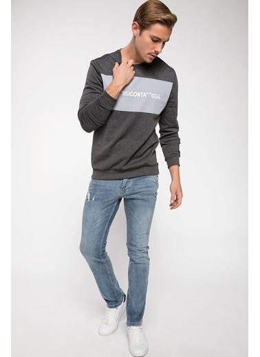 DeFacto Baskılı Sweatshirt Antrasit